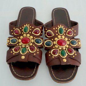 Miu Miu Cabochon Slide Sandals Dark Brown Jeweled